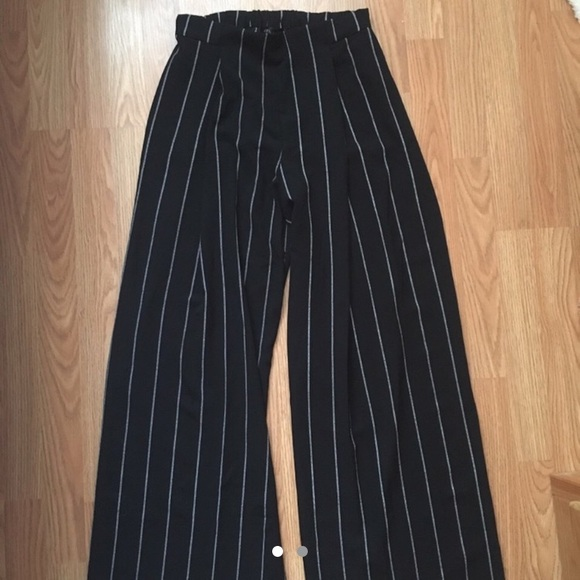 Pinstripe Wide Leg Flowy Pants